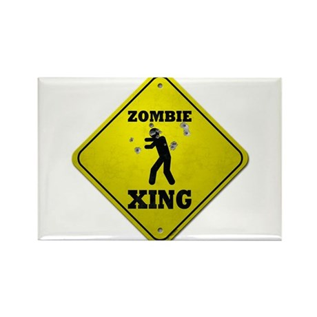 Zombie Xing Rectangle Magnet