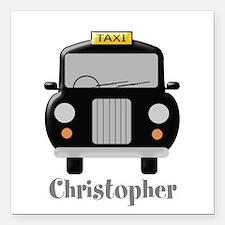 Personalized Black Taxi Cab Design Square Car Magn