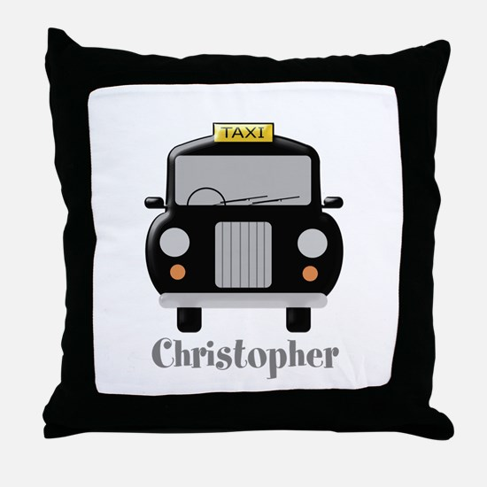 Personalized Black Taxi Cab Design Throw Pillow
