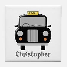 Personalized Black Taxi Cab Design Tile Coaster