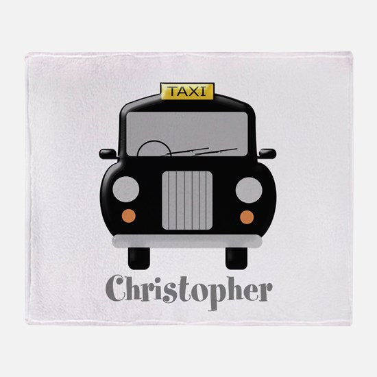 Personalized Black Taxi Cab Design Throw Blanket