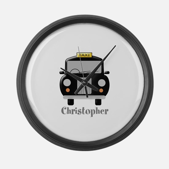 Personalized Black Taxi Cab Design Large Wall Cloc