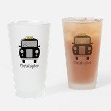Personalized Black Taxi Cab Design Drinking Glass