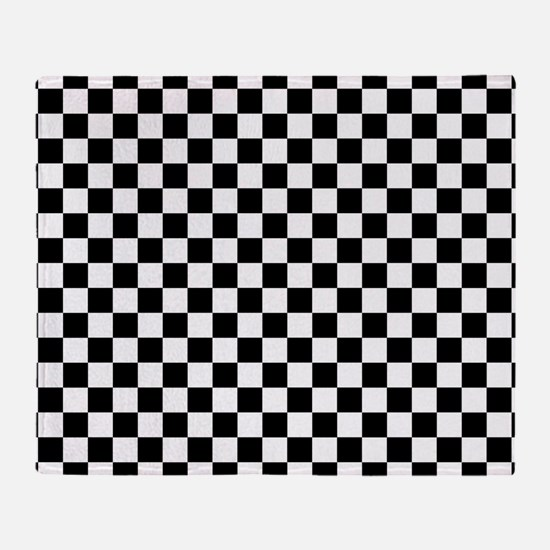 Black Checkers Throw Blanket