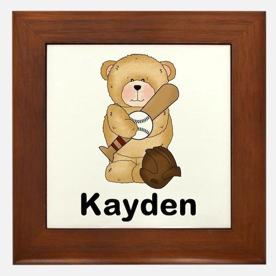 Kayden's Baseball Bear Framed Tile