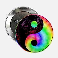 "Rainbow Swirl Yin Yang Symbol 2.25"" Button"