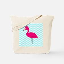 Pink Flamingo Teal Tote Bag
