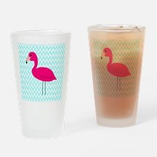 Pink Flamingo Teal Drinking Glass