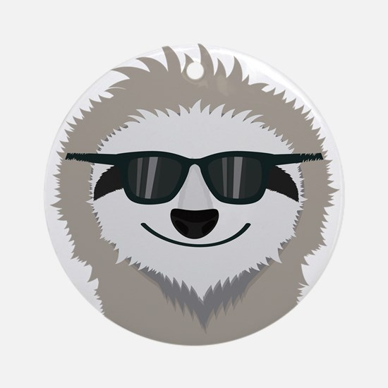 Sloth with sunglasses Round Ornament