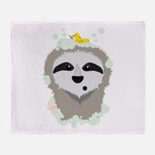 Sloth in bubbles Throw Blanket