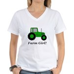 Farm Girl Tractor Women's V-Neck T-Shirt