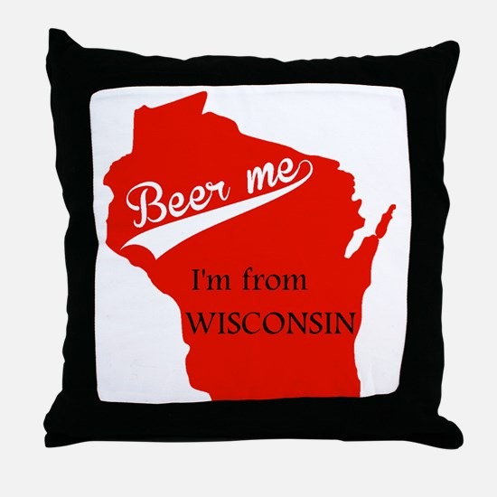 Cute Green bay wisconsin curling Throw Pillow
