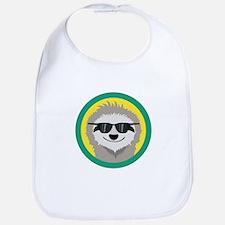 Cool Sloth with sunglasses Baby Bib