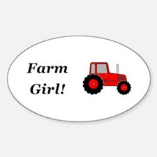 Farm Girl Tractor Sticker (Oval)