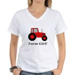 Farm Girl Tractor Women's V-Neck T-Shirt
