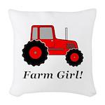 Farm Girl Tractor Woven Throw Pillow