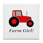Farm Girl Tractor Tile Coaster