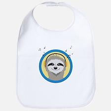 Cool Sloth is hearing music Baby Bib