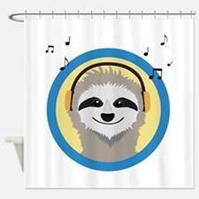 Cool Sloth is hearing music Shower Curtain