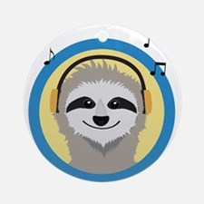 Cool Sloth is hearing music Round Ornament