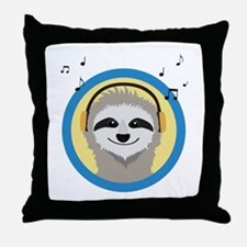 Cool Sloth is hearing music Throw Pillow