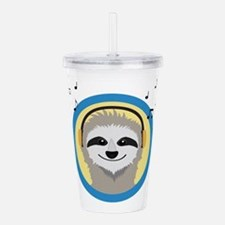Cool Sloth is hearing Acrylic Double-wall Tumbler