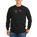Farm Boy Red Tractor Long Sleeve Dark T-Shirt