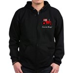 Farm Boy Red Tractor Zip Hoodie (dark)