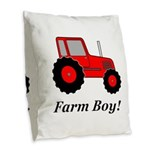 Farm Boy Red Tractor Burlap Throw Pillow