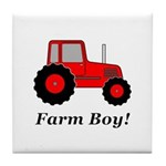 Farm Boy Red Tractor Tile Coaster