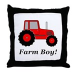 Farm Boy Red Tractor Throw Pillow