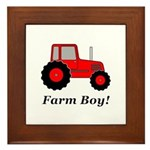 Farm Boy Red Tractor Framed Tile