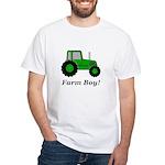 Farm Boy Green Tractor White T-Shirt