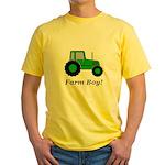 Farm Boy Green Tractor Yellow T-Shirt