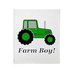 Farm Boy Green Tractor Throw Blanket