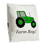 Farm Boy Green Tractor Burlap Throw Pillow