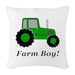 Farm Boy Green Tractor Woven Throw Pillow