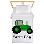 Farm Boy Green Tractor Twin Duvet