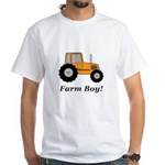 Farm Boy Orange Tractor White T-Shirt