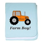 Farm Boy Orange Tractor baby blanket