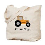 Farm Boy Orange Tractor Tote Bag