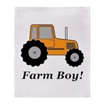 Farm Boy Orange Tractor Throw Blanket