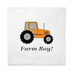 Farm Boy Orange Tractor Queen Duvet