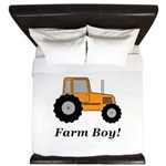 Farm Boy Orange Tractor King Duvet