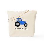 Farm Boy Blue Tractor Tote Bag