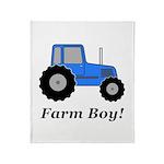 Farm Boy Blue Tractor Throw Blanket