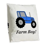 Farm Boy Blue Tractor Burlap Throw Pillow