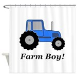 Farm Boy Blue Tractor Shower Curtain