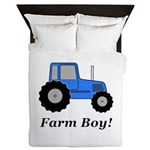 Farm Boy Blue Tractor Queen Duvet
