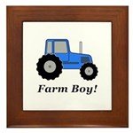 Farm Boy Blue Tractor Framed Tile